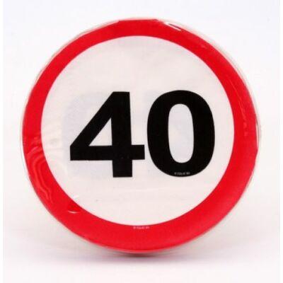40. szülinapra sebességkorlátozó tábla szalvéta