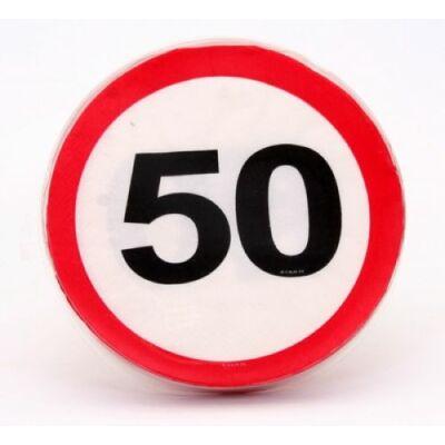 50. szülinapra sebességkorlátozó tábla szalvéta