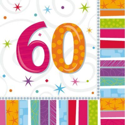 60. színes szülinapi szalvéta