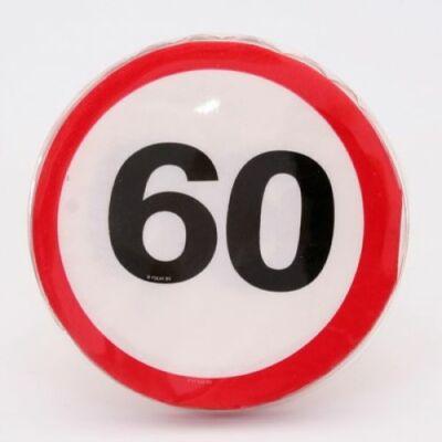 60. szülinapra sebességkorlátozó tábla szalvéta