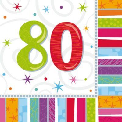 80. színes szülinapi szalvéta