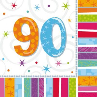 90. színes szülinapi szalvéta