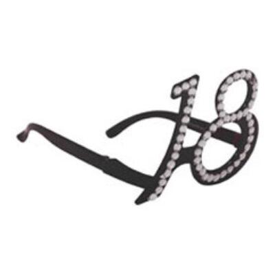 18. szülinapra fekete strasszos szemüveg