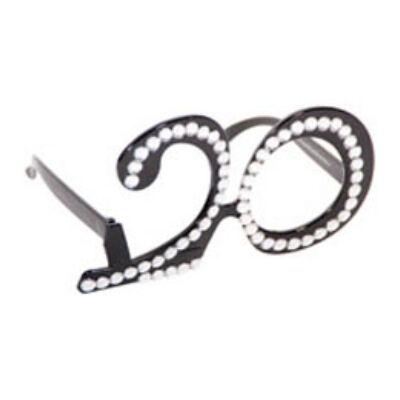 20. szülinapra fekete strasszos szemüveg