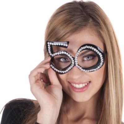 50. szülinapra fekete strasszos szemüveg