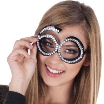60. szülinapra fekete strasszos szemüveg