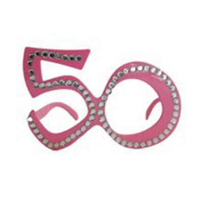 50. szülinapra pink strasszos szemüveg