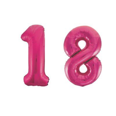 Pink 18 szám szülinapi héliumos lufi