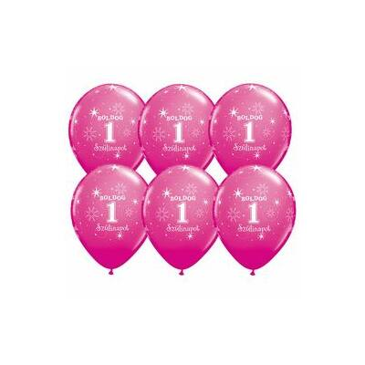 Pink boldog első szülinapot lufi