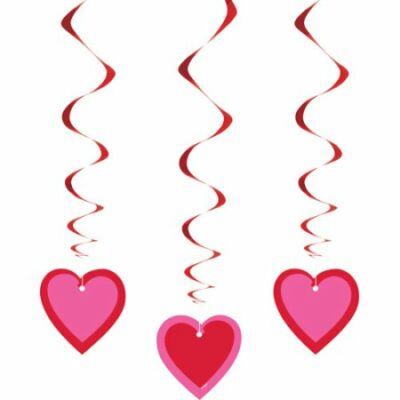 Pink-piros szívek függő dekoráció 3 db-os