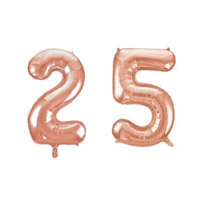 Rose gold 25 szám szülinapi héliumos lufi