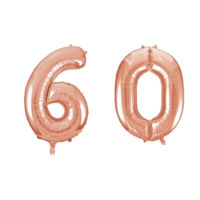 Rose gold 60 szám szülinapi héliumos lufi