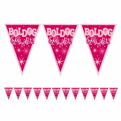 Rózsaszín boldog szülinapot zászló füzér 5 m