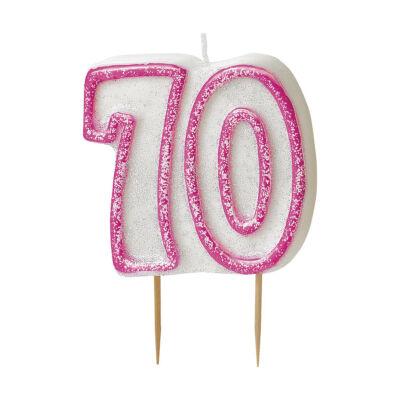 Rózsaszín csillámos 70 szülinapi gyertya