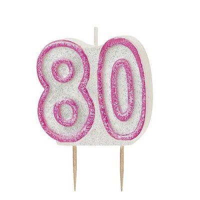 Rózsaszín csillámos 80 szülinapi gyertya