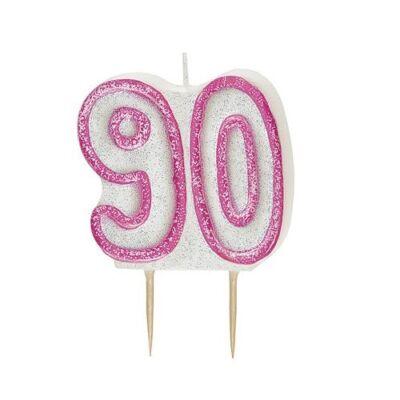 Rózsaszín csillámos 90 szülinapi gyertya