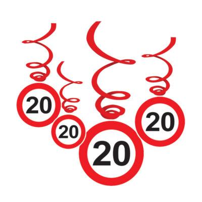 Sebességkorlátozó 20. szülinapi függő dekoráció 6 db