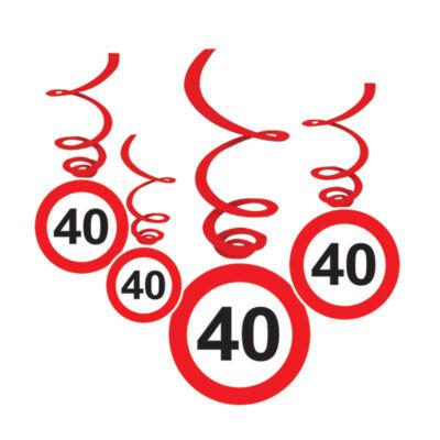 Sebességkorlátozó 40. szülinapi függő dekoráció 6 db