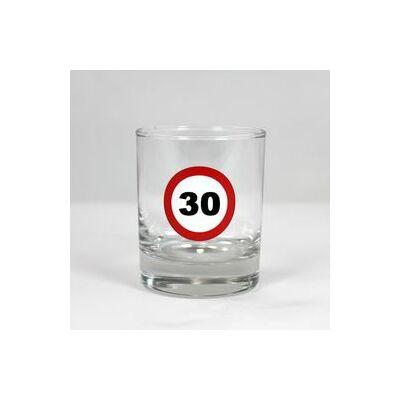 Sebességkorlátozó whiskys pohár 30 szülinapra
