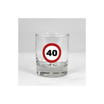 Sebességkorlátozó whiskys pohár 40 szülinapra