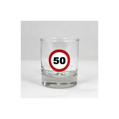 Sebességkorlátozó whiskys pohár 50 szülinapra