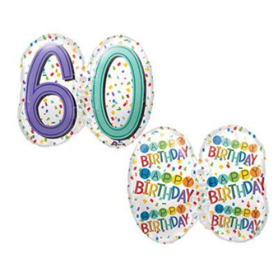Színes konfettis 60 szülinapi héliumos lufi