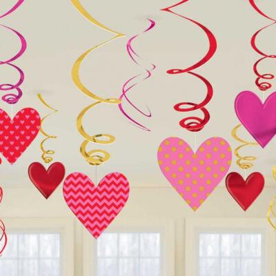 Szívek spirál függő dekoráció szett 12 db-os