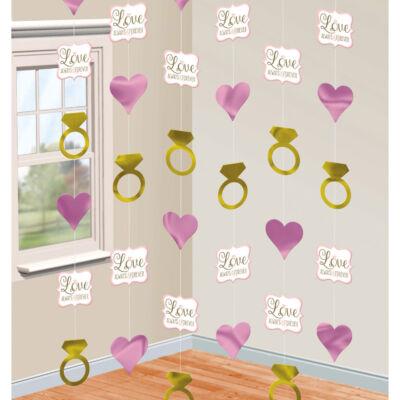 Szíves-gyűrűs függő dekoráció 6 db-os