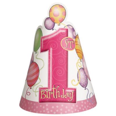 Első szülinapi csákó pink lufis