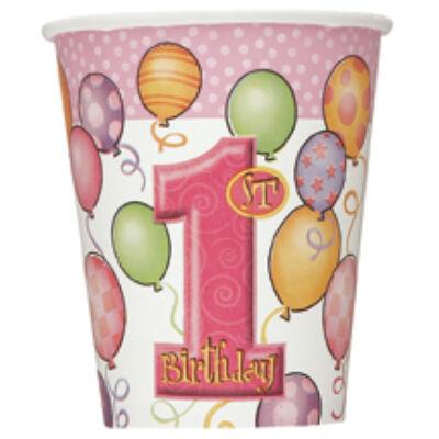 Első szülinapi pohár pink lufis