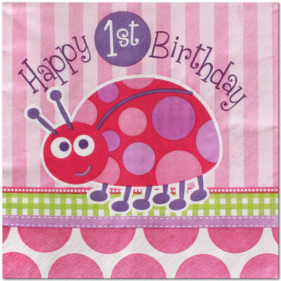 katicás szülinapi képeslap 1 éves szülinapi katicás szalvéta, Nicol Party Kellék Bolt katicás szülinapi képeslap