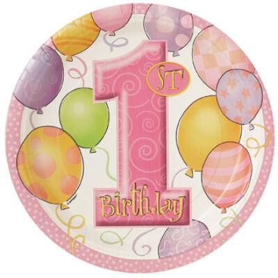 Első szülinapi tányér pink lufis 18 cm