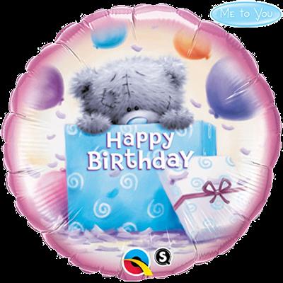 Teddy maci ajándékkal szülinapi héliumos lufi