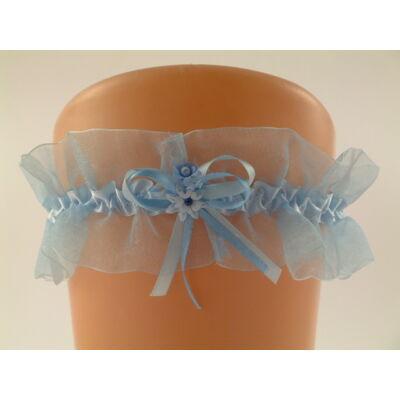 Kék organza harisnyakötő esküvőre