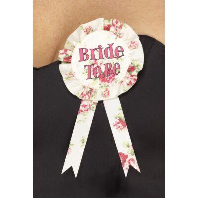Virágos Bride to be lánybúcsú kitűző