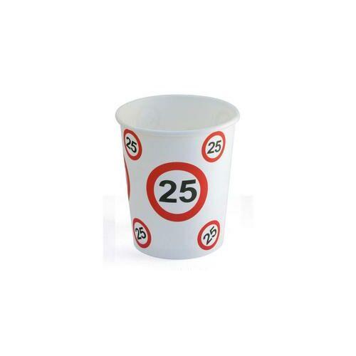 25. szülinapi sebességkorlátozó papír pohár 6 db