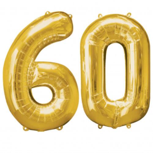 Arany 60 szám szülinapi héliumos lufi