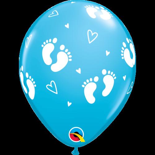 Égszínkék baba lábacskás héliumos lufi