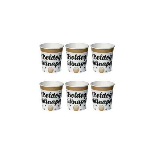 Fekete-arany lufis boldog szülinapot pohár