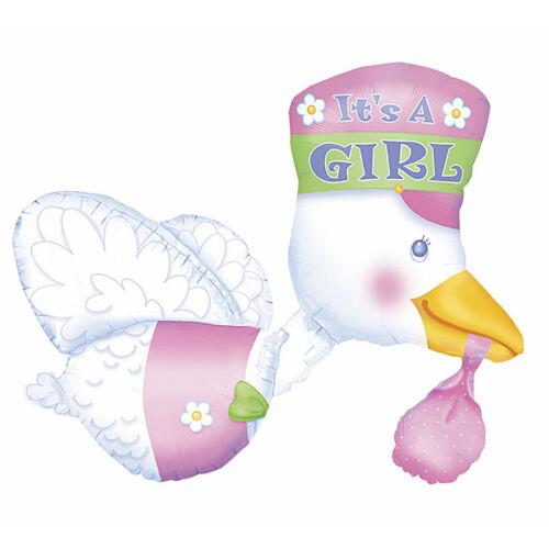 Rózsaszín gólya héliumos lufi