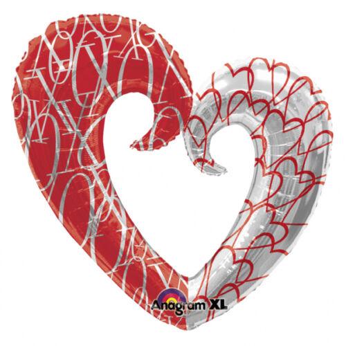 Piros-ezüst nagy héliumos szív
