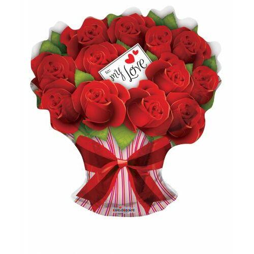 Piros rózsacsokor héliumos lufi