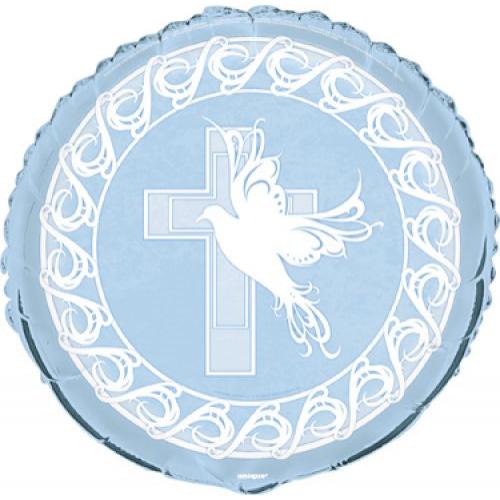 Kék galambos keresztelő héliumos lufi