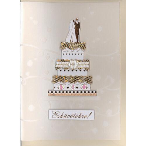 Esküvői képeslap elegáns esküvői tortával