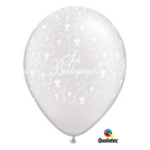 Fehér Sok boldogságot virágos héliumos lufi