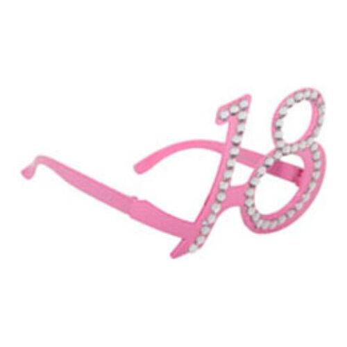 18. szülinapra pink strasszos szemüveg