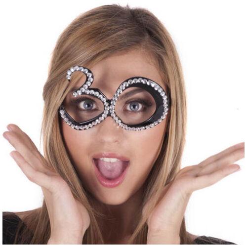30. szülinapra fekete strasszos szemüveg