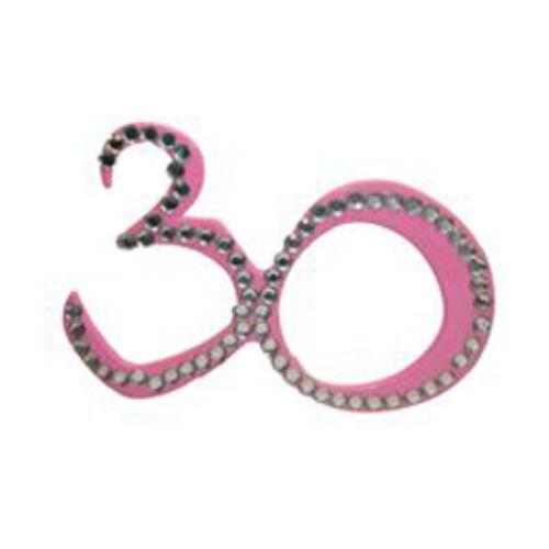 30. szülinapra pink strasszos szemüveg