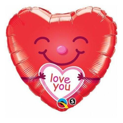 Piros szív smile I love you héliumos lufi