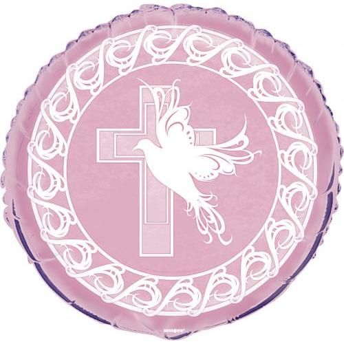 Rózsaszín galambos keresztelő héliumos lufi